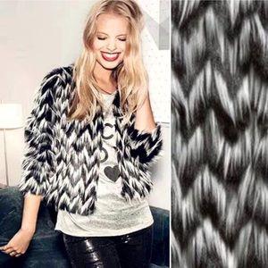 H&M Faux Fur Black & White Zig Zag Jacket Sz 8 NWT